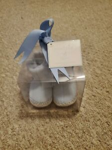 Mud Pie Baby slip on Fleece Button Booties 0-6 MO Blue New In Box With Tag