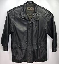 Vtg MEMBERS ONLY Black Leather Jacket Coat Men's XL EXTRA LARGE Drawstring Waist