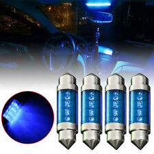 4pcs 39mm 3LED C5W Car Interior Festoon Dome Plate Reading Light Bulb Lamp Blue