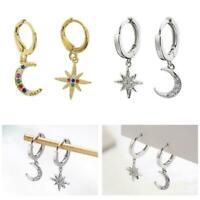 Dangle Earrings Hollow Star Moon Sun Asymmetry Drop Jewelry Earrings Women T7O9