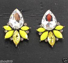 New Lady Woman Elegant clear crystal Rhinestone long Ear Studs hoop earrings 379