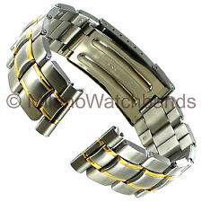 22mm Morellato Stainless Steel Gold Two Tone Straight & Curved Clasp Watch Band