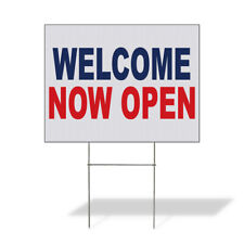 Weatherproof Yard Sign Welcome Now Open Blue Red Lawn Garden