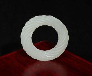 Hetian Jade Loop Carving in Hank Knotting Dia4.9*0.4cm 15g