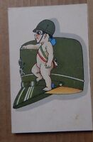 Postcard WW1 Italian Patriotic Card Military Cap baby with Tricolor sash
