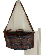 Vintage Cotton/wool & Leather Woven Shopper Bag - Hand Made In Africa