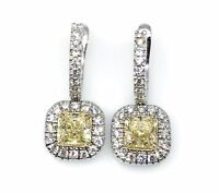 GIA Fancy Yellow and White Diamond Drop Earrings in 18k White Gold-HM1655RE