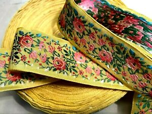 "Vintage Silk 1940s Embroidered Flowers 2 1/4"" Trim Ribbon 1 yd Made in France"
