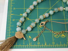 Signed VE Apple Green Chalcedony Quartz Bead Tassel Long Necklace 2e 95