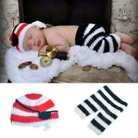 Newborn Baby Photography Photo Prop Knitted Pirate Hat Pants Costume Cosplay Set