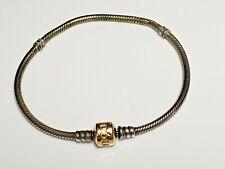 "Genuine Pandora sterling Silver Bracelet & 14k Gold Clasp 8.5"""