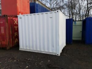 10 ft Long 8 ft Wide White Refurbished Steel Storage Container With Pedestrian a