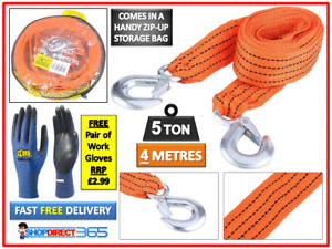 5 TONNE 4M Tow Towing Pull Rope Strap Heavy Duty Road Recovery Car Van 4x4 23-44