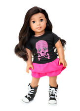 SKULL Top + SKIRT + Boots 3pc Outfit for 18 inch American Girl Doll clothes