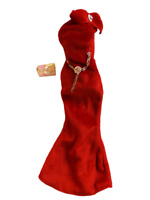 1x BARBIE DOLL SIZED RED VELVET PARTY DRESS HOLLYWOOD STYLE OFF THE SHOULDER