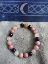 love crystal healing 8mm bead bracelet ,rose quartz moonstone, black tourmaline