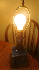 Small Vintage Cobalt Blue Spongeware Pottery Table Lamp ~FREE SHIP~