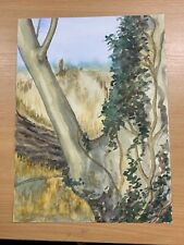 """13.75"""" x 10"""" AMATEUR WATERCOLOUR COUNTRYSIDE / DRAPES DOUBLE-SIDED PAINTING (P3)"""