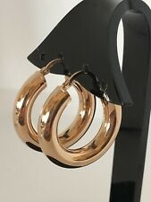 Milor Bronze Hoop Pierce Earrings Rose Gold Tone Color Italy New
