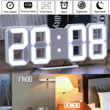 Modern Digital 3D Wall Clock Desk Alarm Watch Snooze Timer LED Night Light Lamp