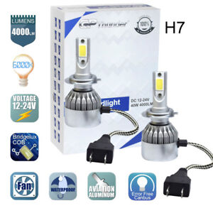 H7 LED Headlight Bulb Conversion Kit High Low Beam Lamp 6000K White 2 Bulbs New