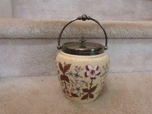 "GORGEOUS ANTIQUE Biscuit Jar Raised Enamel Flower 8"" (with handle)"