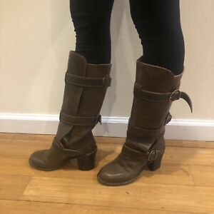 Fiorentini + Baker Billie 3 Buckle Brown Leather Heeled Boots Sz 35 5US Stacked