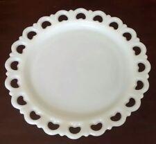 Vintage Anchor Hocking Milk Glass Heart Shape Lacy Edge Serving Plate Platter
