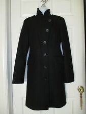 United Colors of Benetton Black Wool High Neck Coat Size 44 Womens