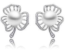 Elegant Bridal Silver Leaf White Pearl Earrings Studs E640