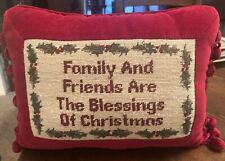 Vintage Small Wool Needlepoint Christmas Throw Pillow Velvet Back Holly Tassels