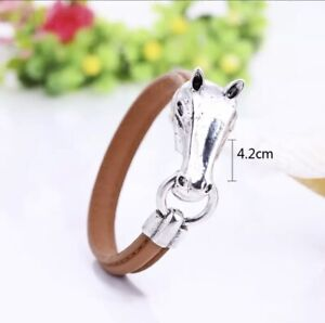 """7.5"""" Silver Pony Horse Head Brown Leather Equestrian Cuff Bangle Bracelet Rider"""