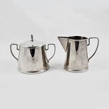 Zuckerdose und Milchkännchen Art Déco / TH gepunzt / Blech, Edelstahl / bowl jug