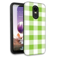 Green White Plaid Double Layer Hybrid Case Cover For LG Stylo 4