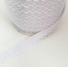 White 12mm Pre-Folded Plain Bias Binding with Lace Frilled Picot Edge