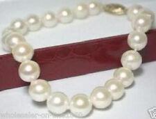"Pearl 18Kgp Bracelet 7.5""Aaa+ Charming! 8-9mm Genuine Akoya White"