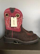 "Ariat Fatbaby 8"" Dark Brown Red Cowboy Western Boots Womens Size 6"