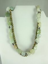 """Sterling Silver Beautiful 2 Strand Green Gemstone Toggle Necklace 17""""  106 Grams"""
