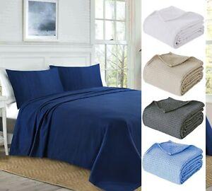 Luxury Waffle Weave Bed Sofa Throw Blanket 100% Cotton Large Extralarge Sizes