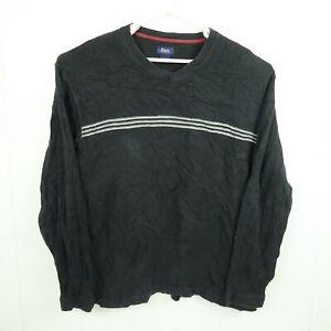 GH Bass Mens Knit Sweater Size XL Black Striped V-Neck Pullover Jumper