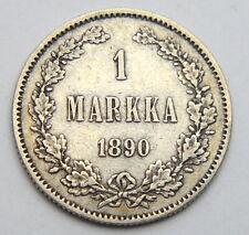 RUSSIA EMPIRE FINLAND 1 MARKKA 1890 OLD SILVER COIN