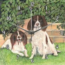 No.76 Two Spaniels Sue Podbery Wall clock beautiful handmade gift present dogs