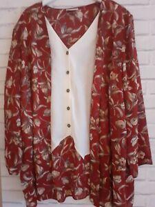 Ladies Size 28 Kimono/Jacket/Cardigan.  EVANS essence red floral 2 peice