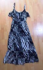 Marks and Spencer Per Una Black White Mono Strappy Summer Maxi Dress UK 12 M