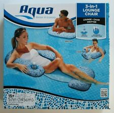 Aqua 3 in 1 Premium Lounge Chair Drifter Inflatable Float NEW