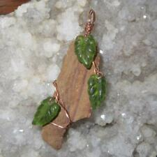 Petrified Wood Pendant - Glass Leaves Copper Wire Wrap