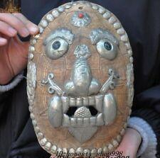 "10"" Collect Rare Old Tibet Silver Exorcism Skull Arhat Head Vizard Mask Masks"