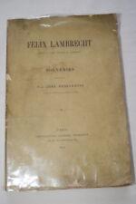FELIX LAMBRECHT SOUVENIRS NORD MINISTRE INTERIEURE 1873 DESJARDINS