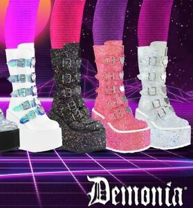 White Glitter Platform Festival Coachella Unicorn Buckle Boots Demonia Womans