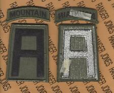 USA 1st Army Mountain Warfare School Cmd OD Green & Black BDU uniform patch m/e